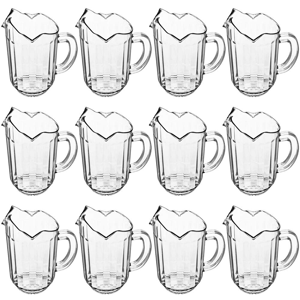 (Set of 12) 1 Quart Plastic Water Pitcher, 32-Ounce Clear Polycarbonate Beverage Pitcher with 3 Spouts, Water Pitchers for Restaurant by Tezzorio