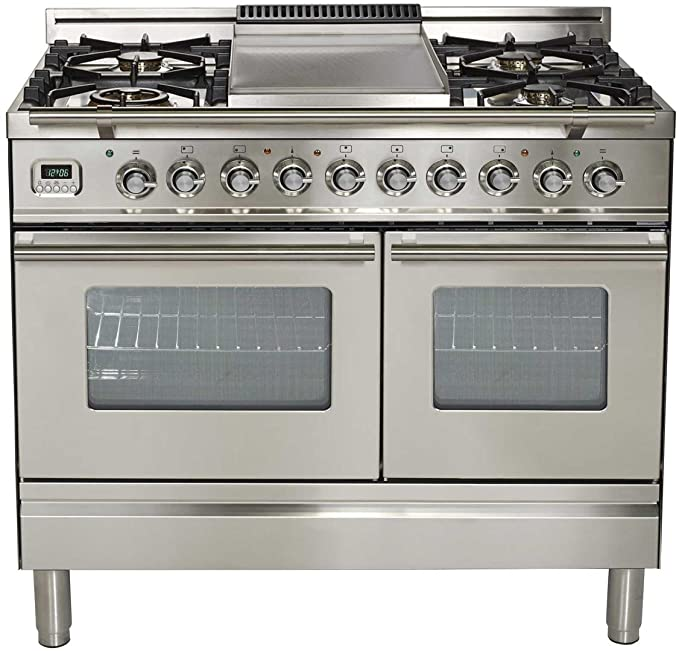 Ilve UPDW100FDMPI Pro Series 40 inch. Dual Fuel Double Oven Range Griddle Convection Storage Drawer Stainless Steel