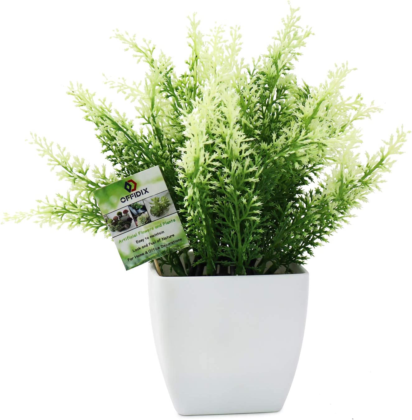 OFFIDIX Plastic Fake Green Plant, Faux House Plants Desk Plant Artificial Plants with White Square Vase for Farmhouse,Home,Garden,Office,Patio,Wedding and Indoor Outdoor Decoration
