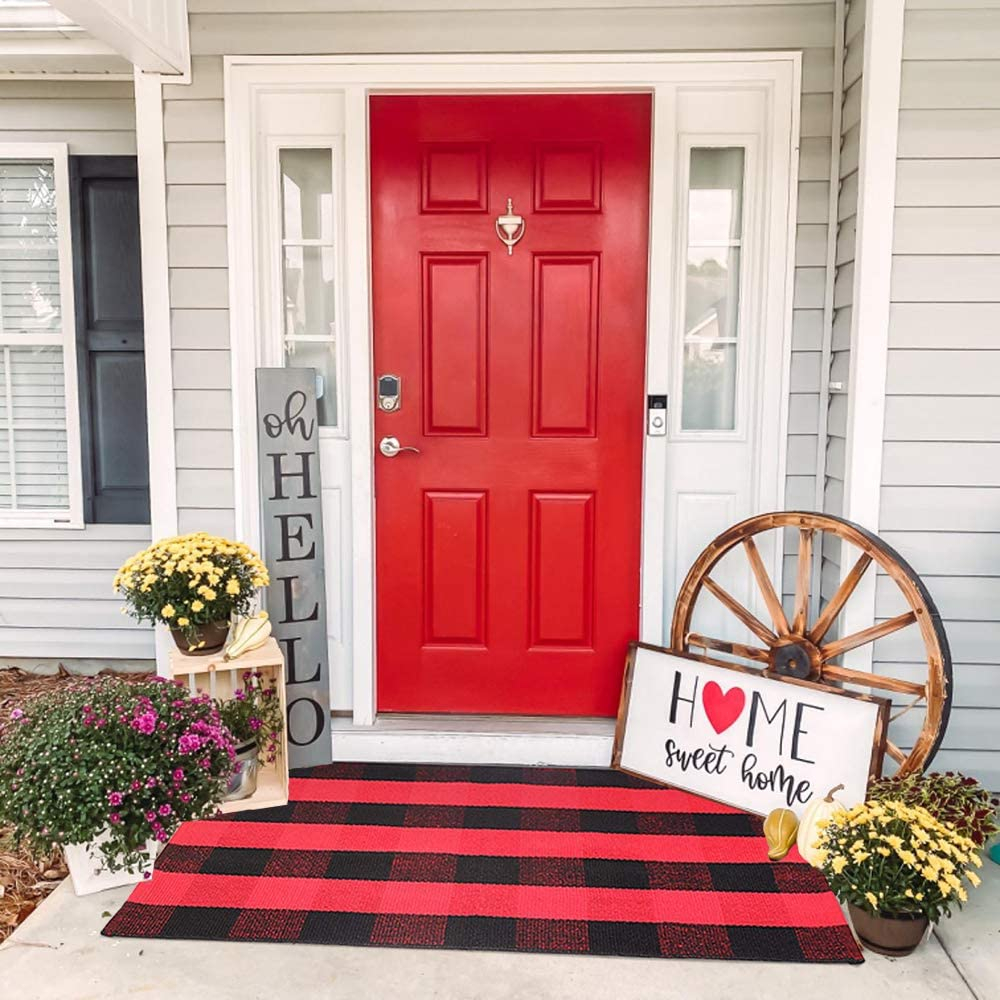 KaHouen Red and Black Buffalo Check Rug ( 27.5 x 43 Inches ), Buffalo Plaid Front Door Rug, Christmas Decor Indoor & Outdoor Checkered Rugs for Layered Door Mats/Kitchen/Farmhous (Front Door Mat)
