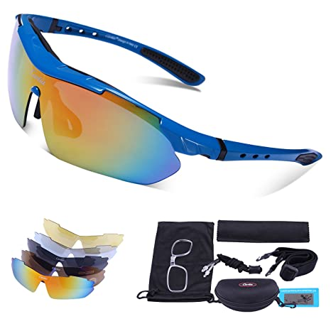 38e9f8fe1d74 Polarized Sport Sunglasses - Carfia UV400 Cycling Glasses for Men Women  Lightweight Cool Frame with 5