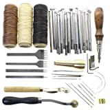 BIGTEDDY - Leathercraft Basic Accessories Tools Kit for Hand Sewing Stitching Wheels and Stamping Set (Tamaño: Full Set Kit)