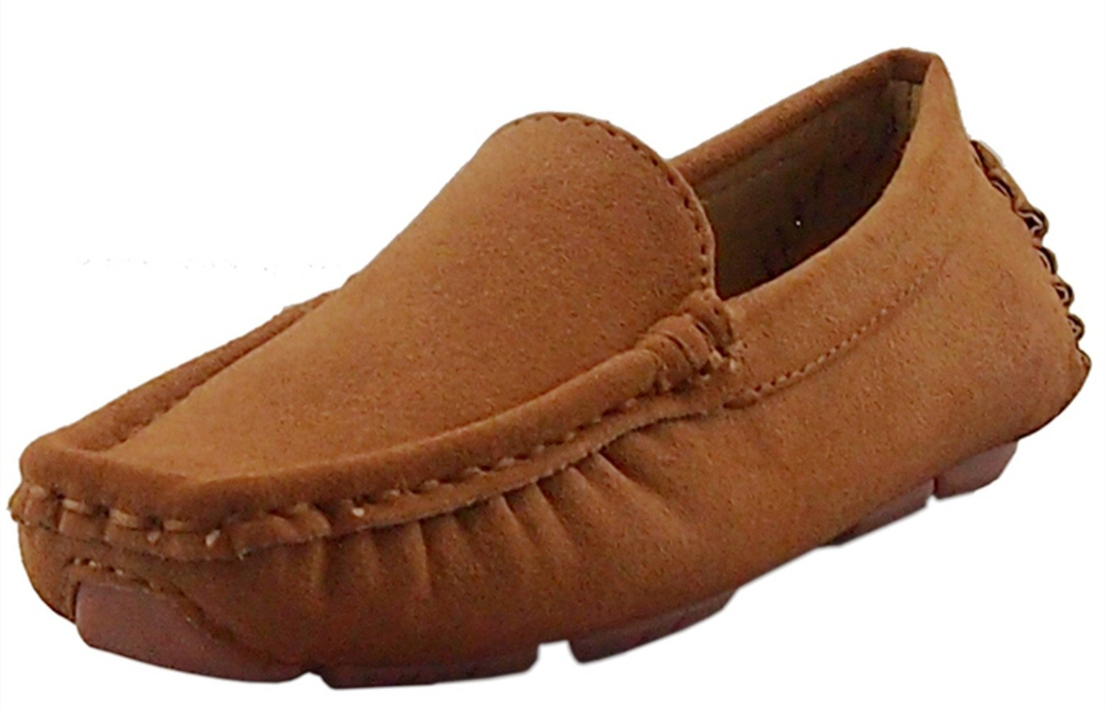 DADAWEN Girl's Boy's Suede Slip-on Loafers Oxford Shoes, Brown, US Size 6 M Toddler