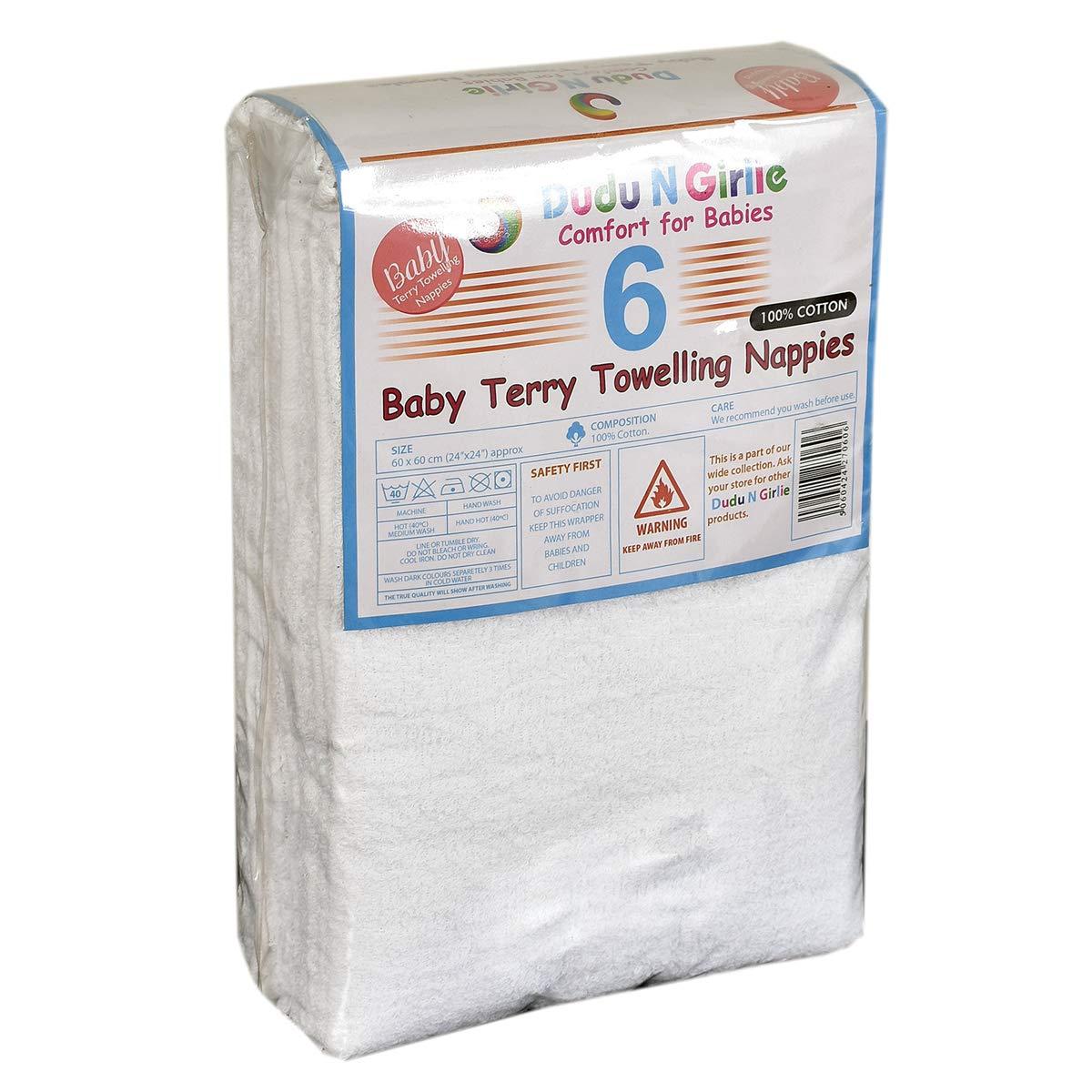 Dudu N Girlie Terry 6 unidades Pa/ñales de algod/ón para beb/é
