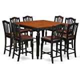 East West Furniture CHEL9-BLK-LC 9-Piece Counter Height Table Set