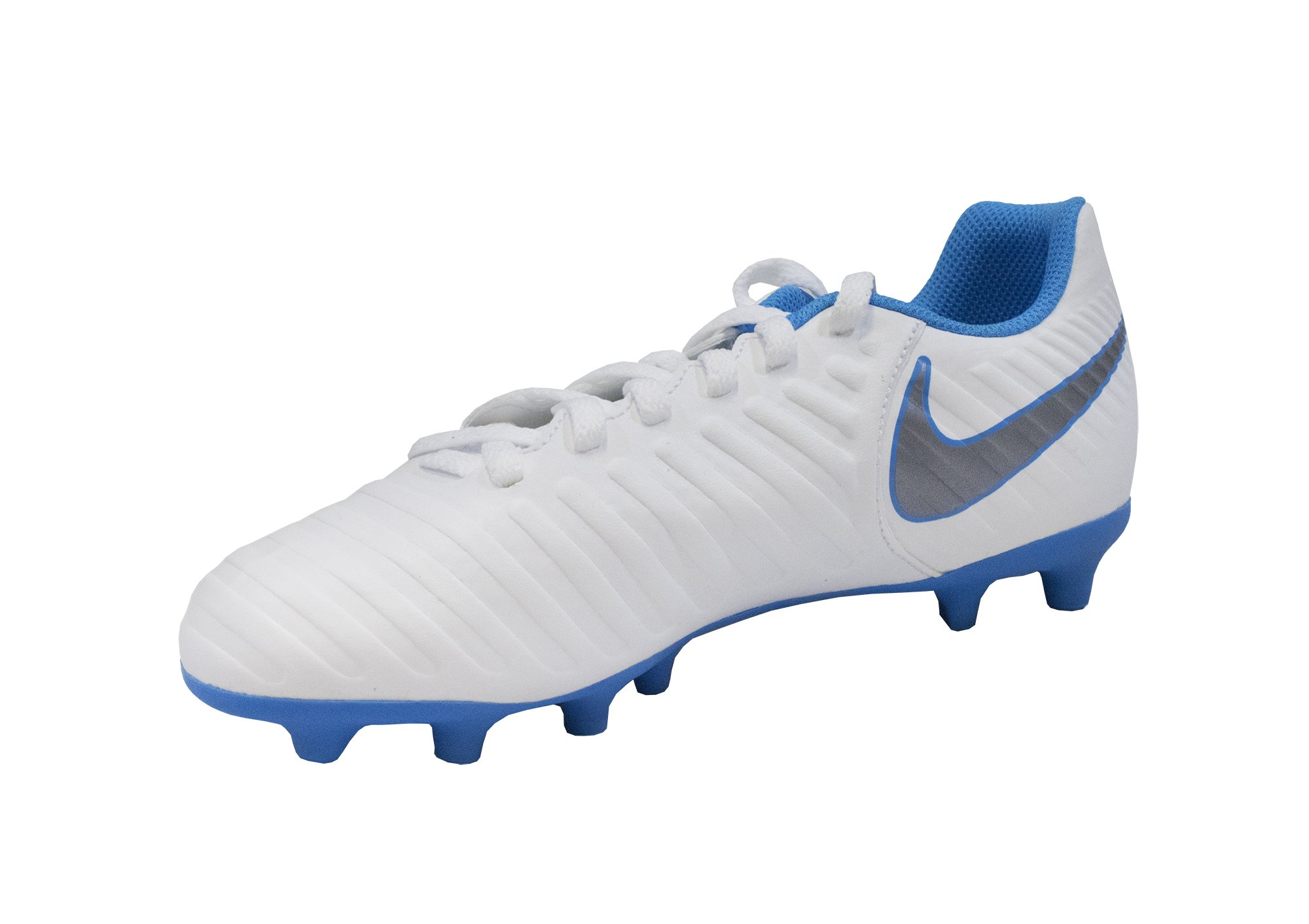 04d201172 Galleon - Nike Jr. Legend 7 Club (FG) Firm Ground Soccer Cleat  White Metallic Cool Grey Blue Hero Size 3 M US