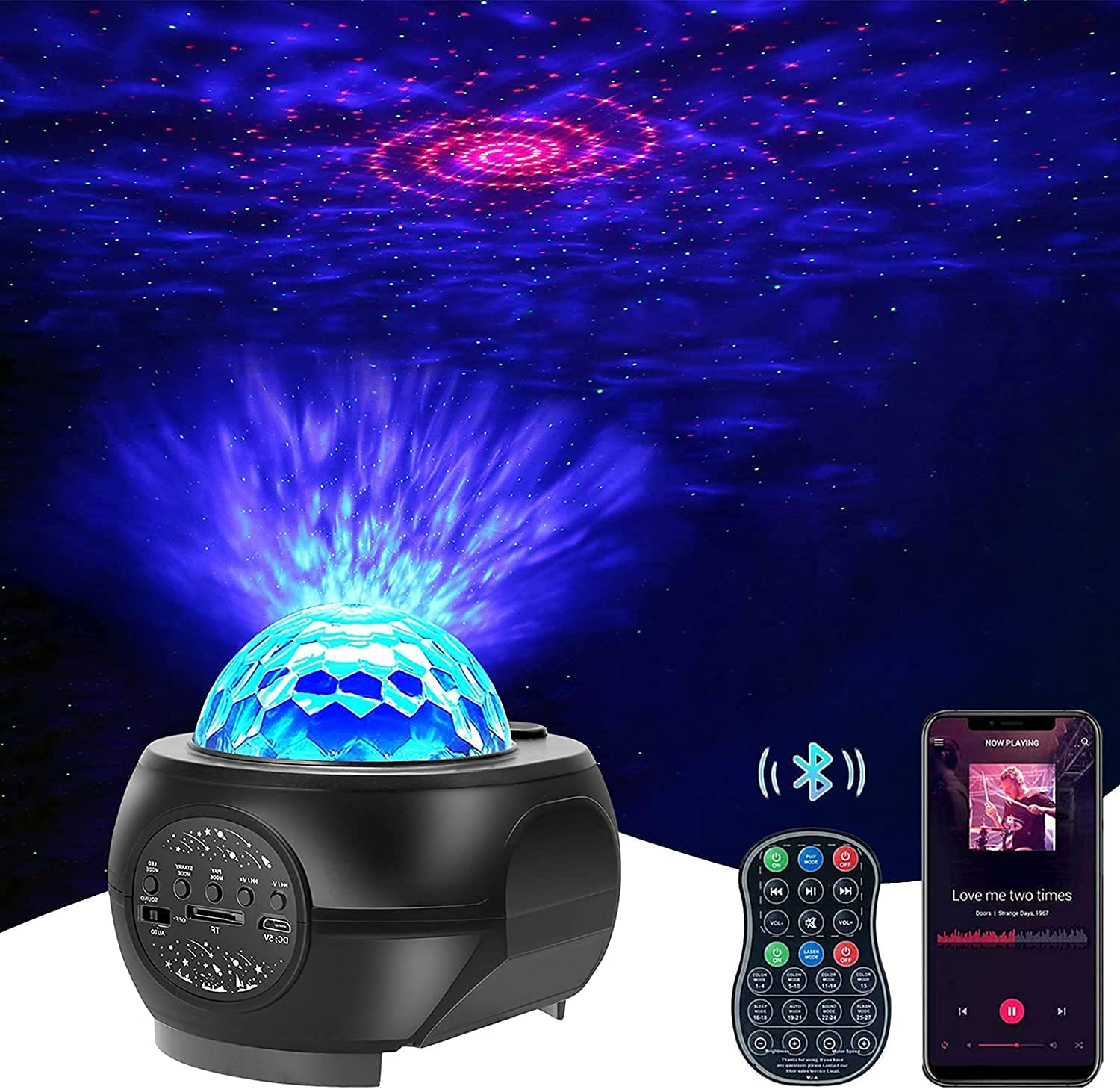KFK Galaxy Projector, Galaxy Star Night Light Ambiance Projector for Bedroom, Room Decor, Home Theater, Party Ceiling, with Bluetooth Music Speaker, Voice & Remote Control, Great Gift for Kids Adults