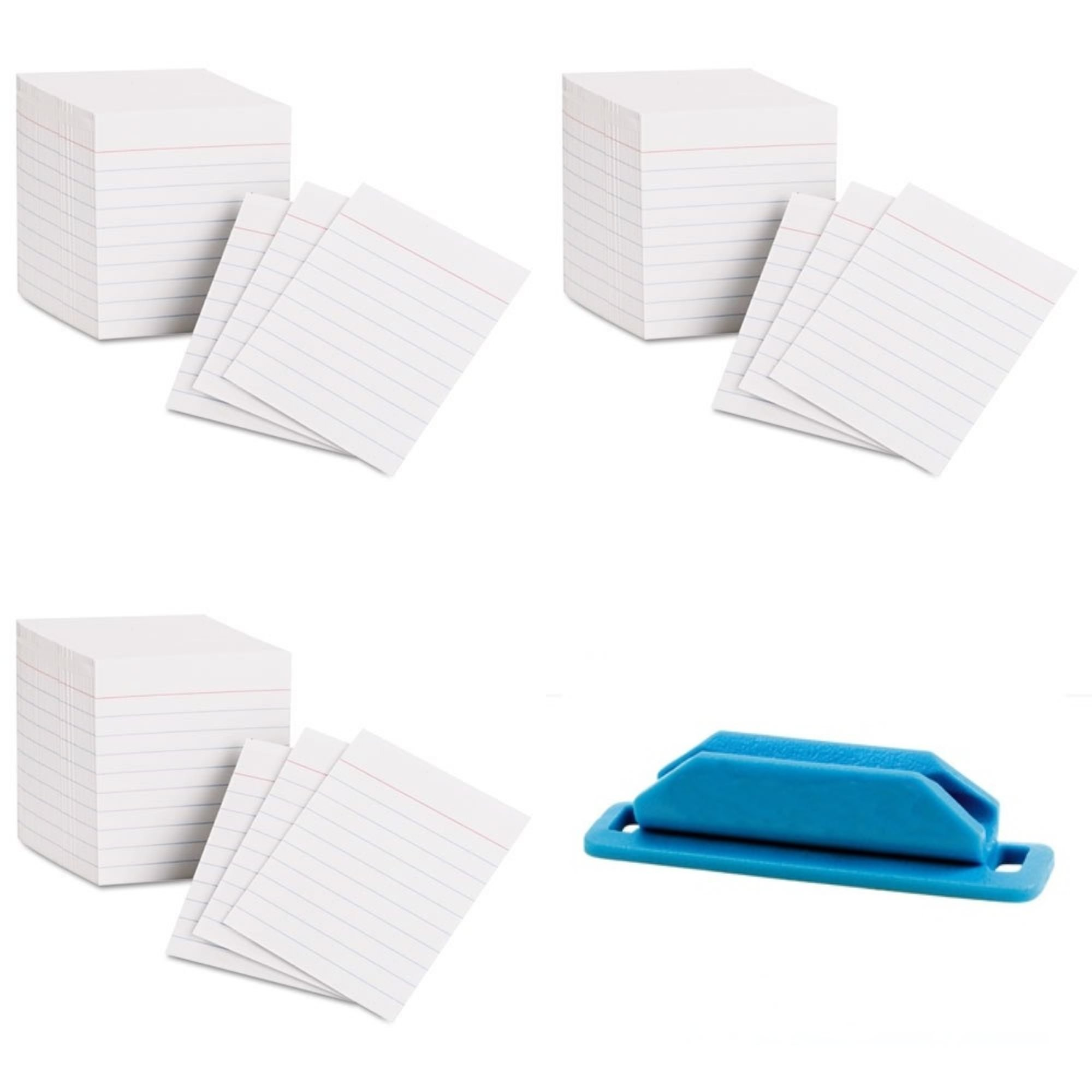 Oxford Mini Index Cards 3 Inch X 2.5 Inches 200 Cards per Package (Pack of 3) Bundle with Rubber Pen/Pencil Holder