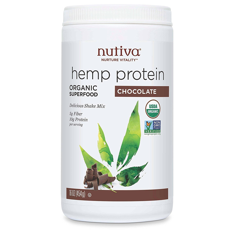 Nutiva Hi Fiber Hemp Protein Powder, Hemp Protein Chocolate, 16 Ounce