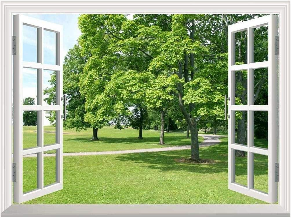 """wall26 Removable Wall Sticker/Wall Mural - Park with Green Trees 