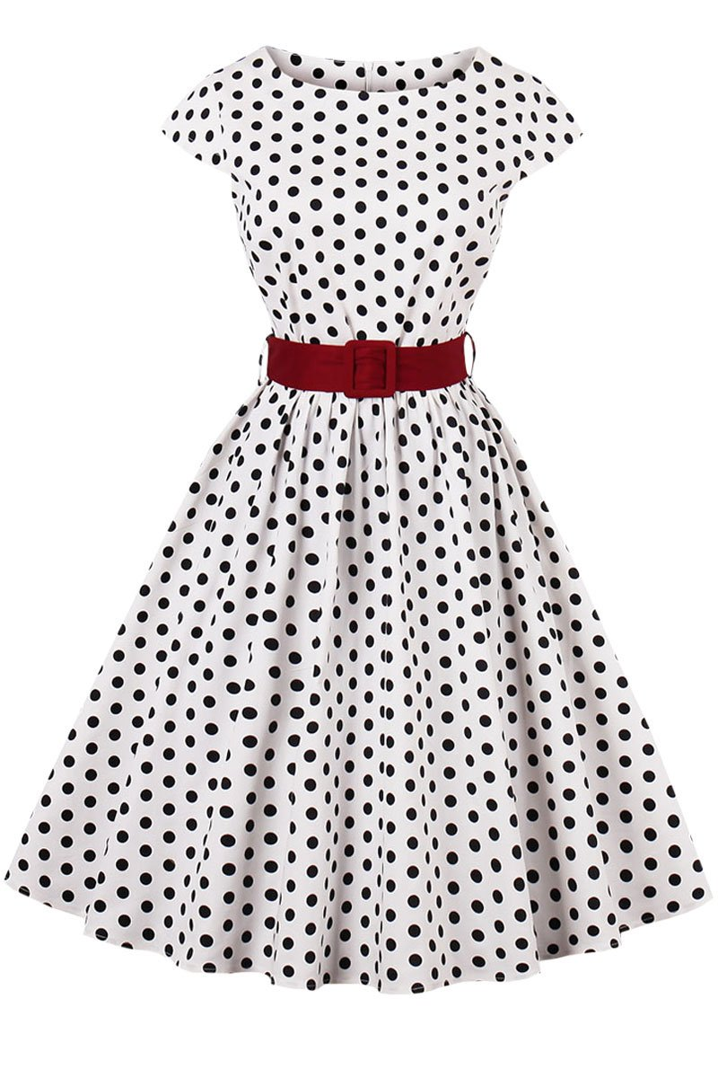 Jenkoon Women Vintage Short Sleeve 1950s Audrey Hepburn Style Swing Dress with Belt (White Dots, Small)