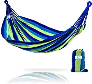 Hammock Sky Brazilian Double Hammock - Two Person Bed for Backyard, Porch, Outdoor and Indoor Use - Soft Woven Cotton Fabric (Blue & Green Stripes)