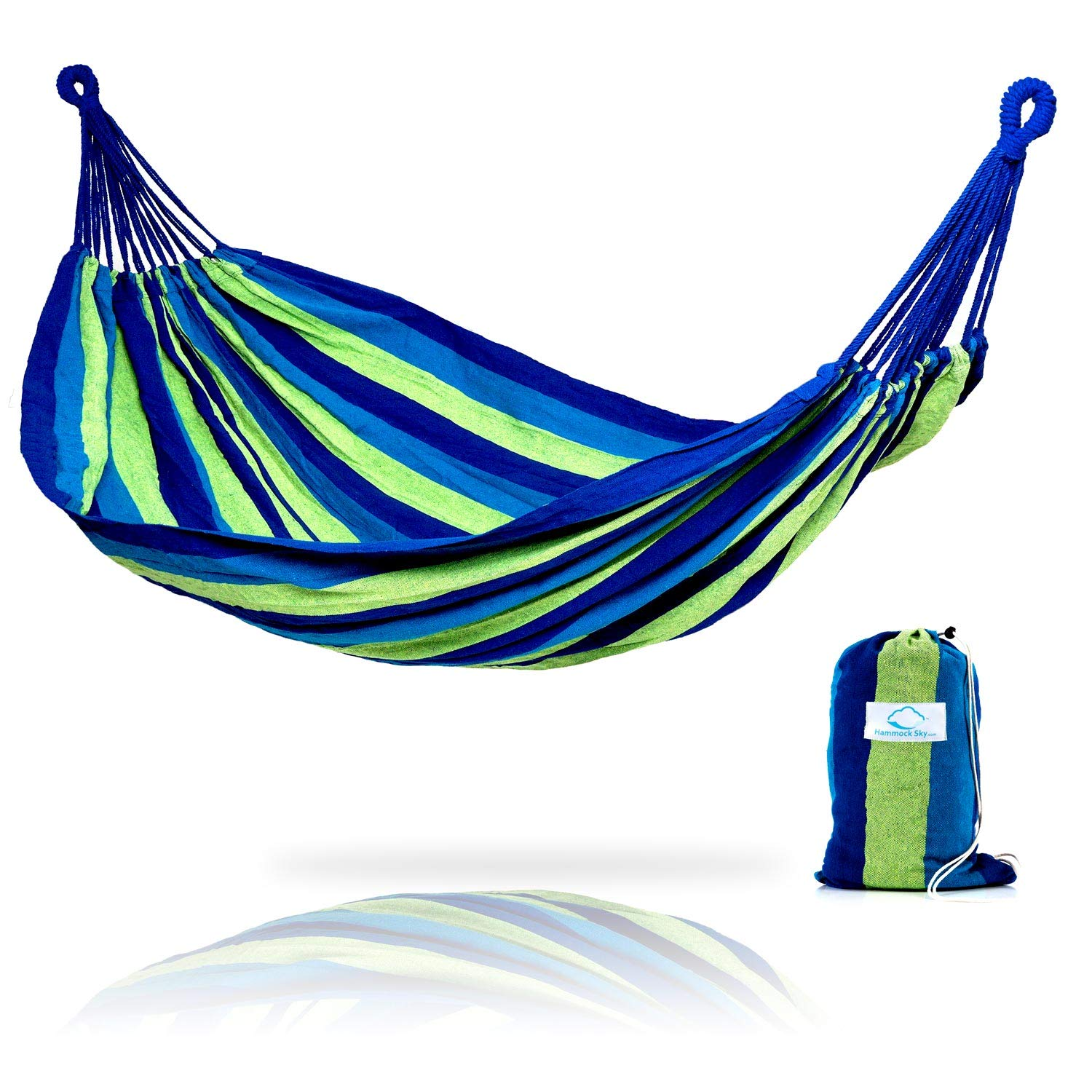Hammock Sky Brazilian Double Hammock   Two Person Bed For Backyard, Porch,  Outdoor And Indoor Use   Soft Woven Cotton Fabric For Supreme Comfort (Blue  ...