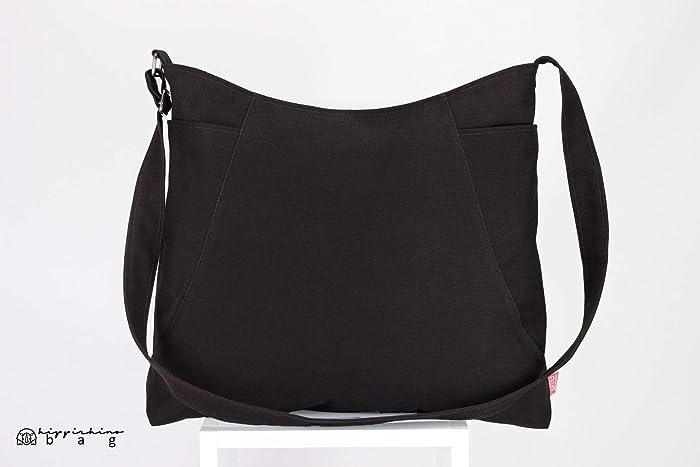 Dark Brown Hobo Bag Two Large Pocket Large Bag Long Strap Canvas Bag  Shoulder bag Crossbody bag Women Accessories Handmade Vegan Bag Chic  Different Colors ... 96eb7500ef052