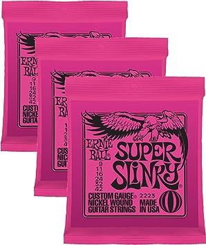 Ernie Ball 2223 x 3 9 – 42 Super Slinky cuerdas para guitarra eléctrica (Pack de 3). ¡Envío gratis!