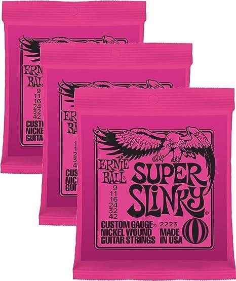 Ernie Ball 2223 x 3 9 – 42 Super Slinky cuerdas para guitarra eléctrica (Pack