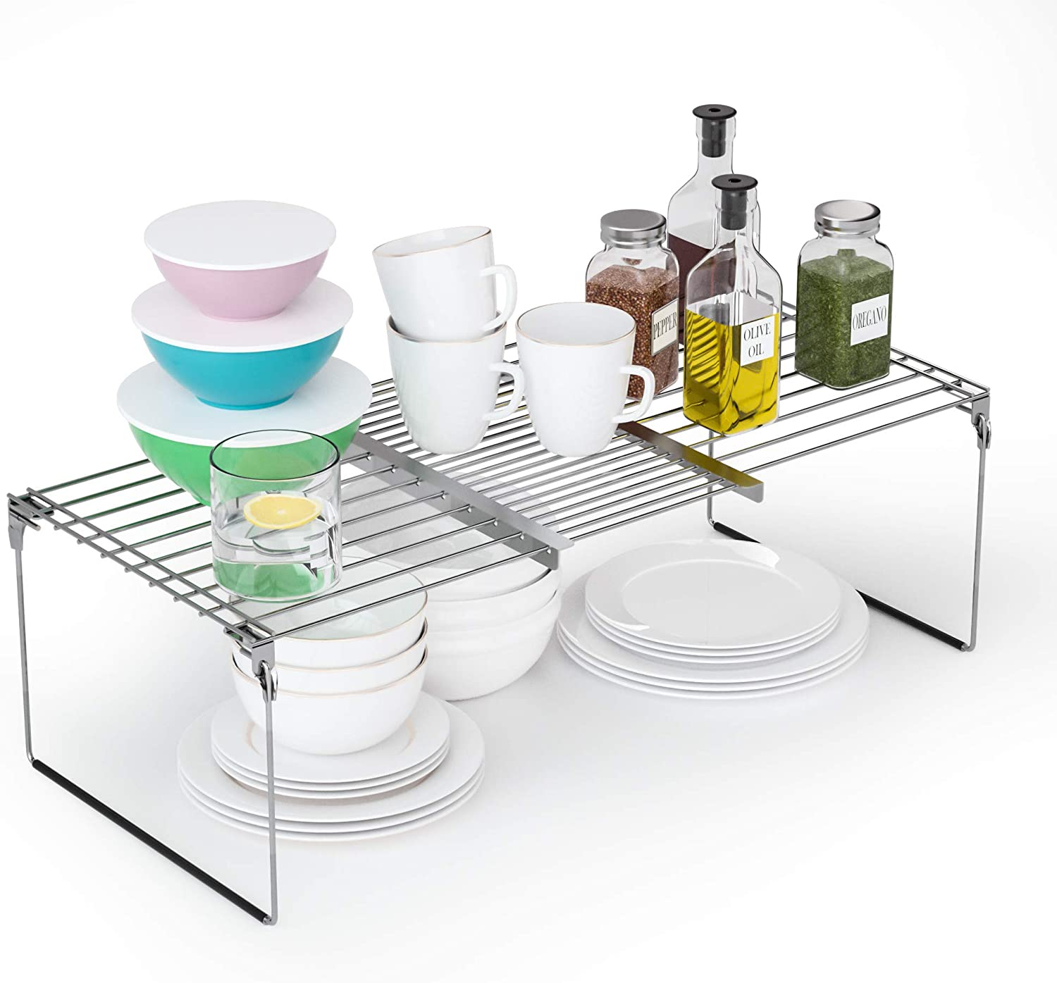 2 in 1 Expandable Cabinet Shelf Organizer Kitchen Counter Shelves & Over The Sink Dish Drying Rack - Multipurpose Pantry Organizer for Cabinet, Countertop Organization,Stainless Steel