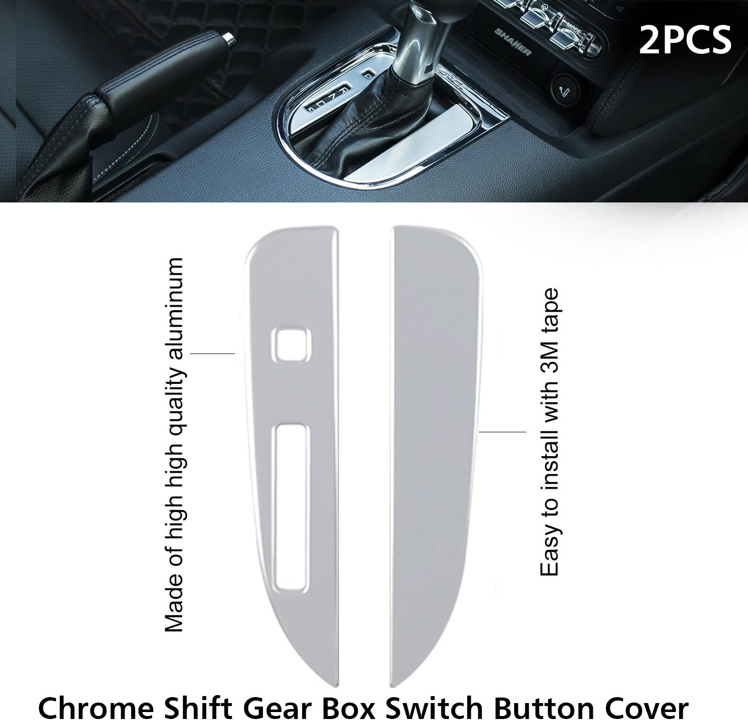 15 PCS Accessories Decoration Set Console Central for 2015 2016 2017 2018 Ford Mustang Interior Dash Board Side Air Conditioner Outlet Vent Door Chrome Shift Gear Box Switch Button Cover Trim