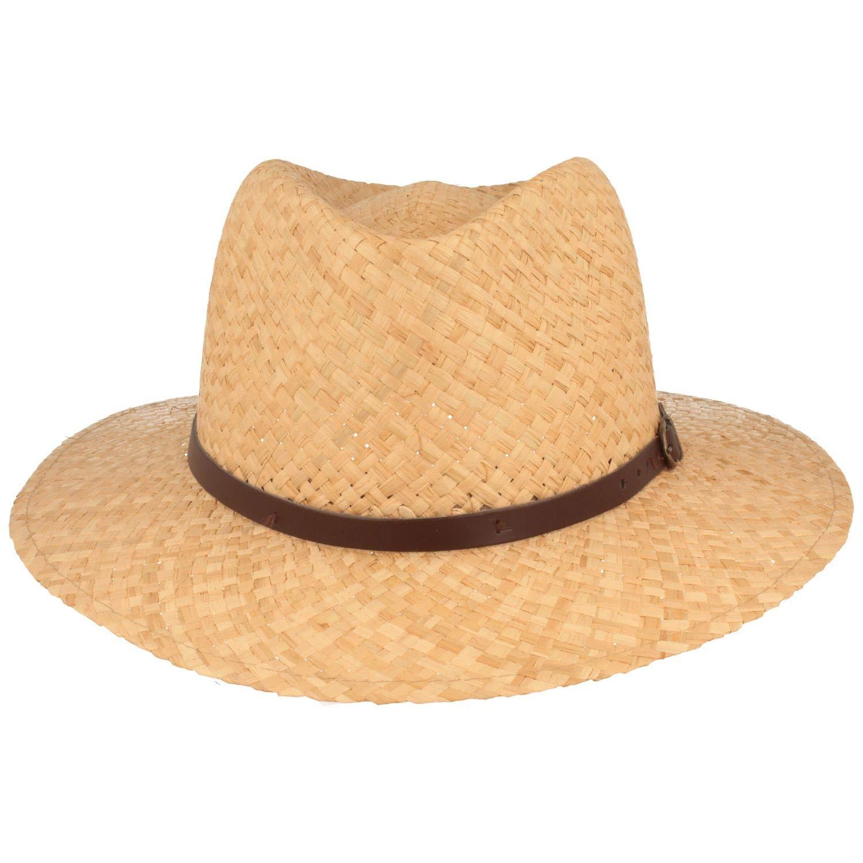 aus 100/% Raffia-Stroh mit Kunstleder-Garnitur Sommerhut Made IN Italy Strohhut Besonders leicht /& Flexibel Sonnenhut
