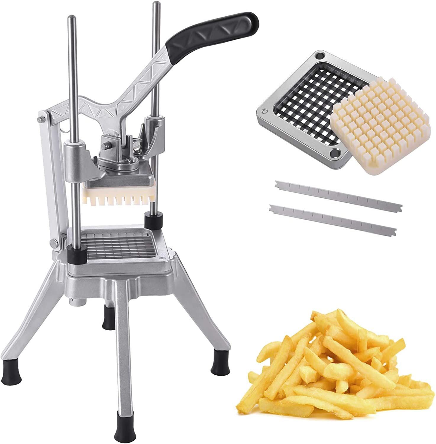 Frifer Commercial Vegetable Fruit French Fry Cutter, Upgraded Chopper Dicer Slicer with 1/4″ Blades, Professional Stainless Steel Food Cutter for Potato Carrot Tomato Mushroom (Cutter, 1/4