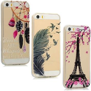 Lot de 3 coques pour iPhone SE, iPhone 5 iPhone 5s Souple Silicone Anti-chute Transparent fin en caoutchouc gel TPU élégant Motif imprimé Ultra Mince ...