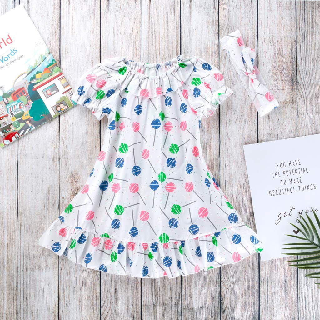 1-5 Years Baby Girl Clothes Girls Short Sleeve Ice Cream Print Round Neck Cotton Party Dresses