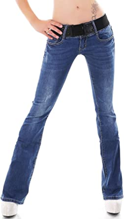 Women/'s Classic Boot cut stretch Denim low rise Jeans Black UK 6 8 10 12 14