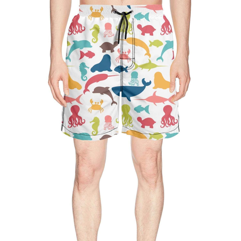 467f9bcceacbe Amazon.com: Men's Gym Shark Pattern Beach Trunks Quick Drying Waist  Drawstring Short Pants Men Swim Pants Men: Clothing