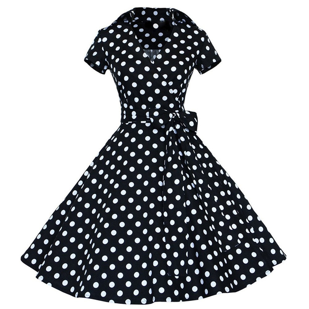 iZHH Women Fashion Vintage Dress 50S 60S Swing Pin up Retro Casual Housewife Party Dress(A-Black,S) by iZHH