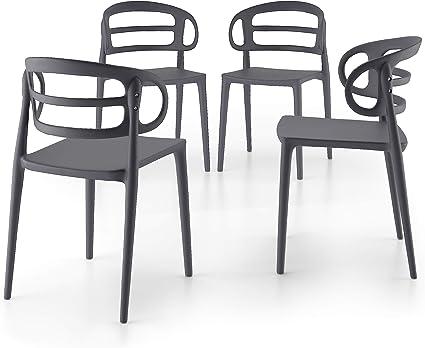 Mobili Fiver, Set 4 Sedie Moderne da Cucina Carlotta, Grigio