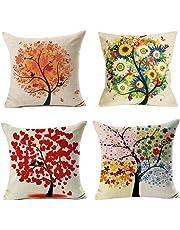 Freeas 4 Pack Colorido Otoño Flor Árbol de Algodón de Lino Throw Pillow Case Funda de Almohada para cojín 45x45 cm