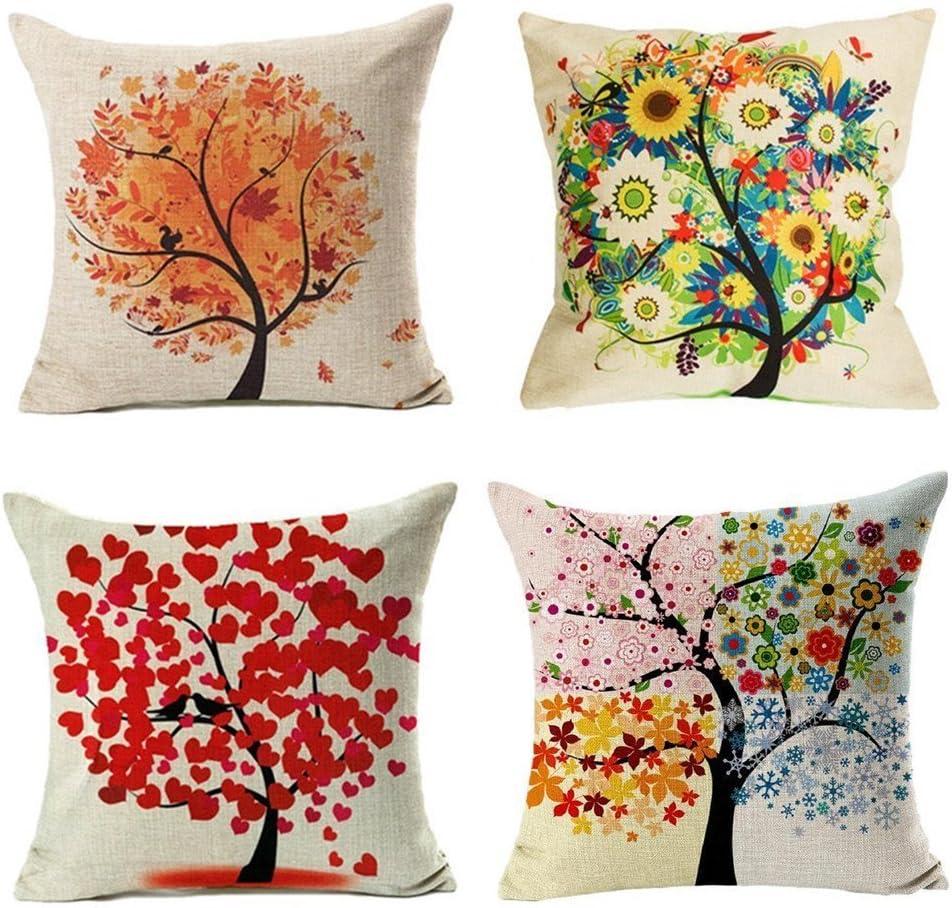 4 Pack Colorido Otoño Flor Árbol de Algodón de Lino Throw Pillow Case Funda de Almohada para cojín 45x45 cm, Gspirit