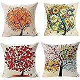 4 Pack Colorido Otoño Flor Árbol de Algodón de Lino Throw Pillow Case Funda de Almohada