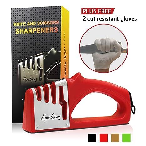 Amazon.com: Sync Living - Afilador de cuchillos y tijeras, 4 ...