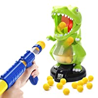 EagleStone Dinosaur Shooting Toys for Kids Target Shooting Games with Air Pump Gun, Party Toys with LCD Score Record, Sound, 24 Soft Foam Balls Electronic Target Practice Toys Gift for Boys and Girls