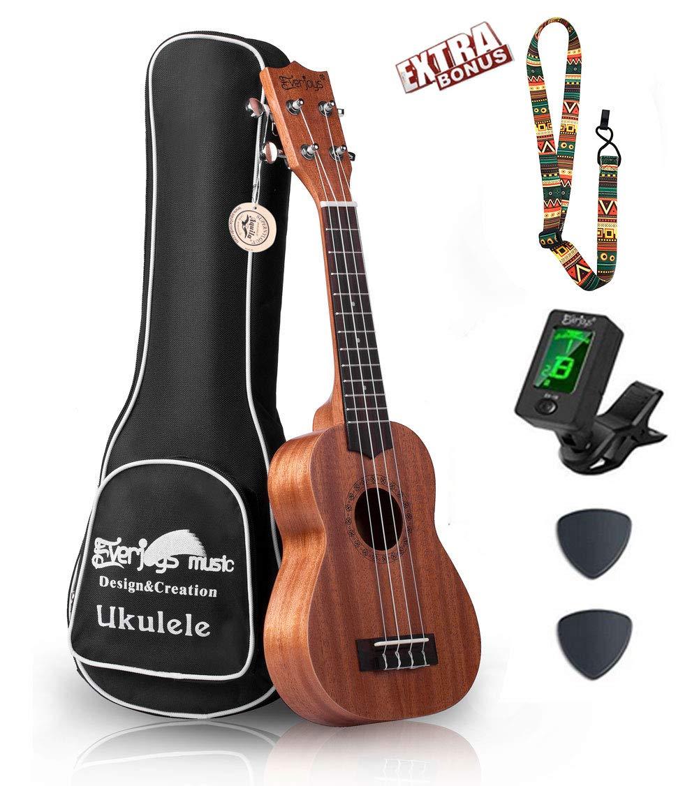 Mahogany Soprano Ukulele Starter Kit - Professional 21 inch w/Case Strap Tuner Aquila Strings (Natural Mhogany)