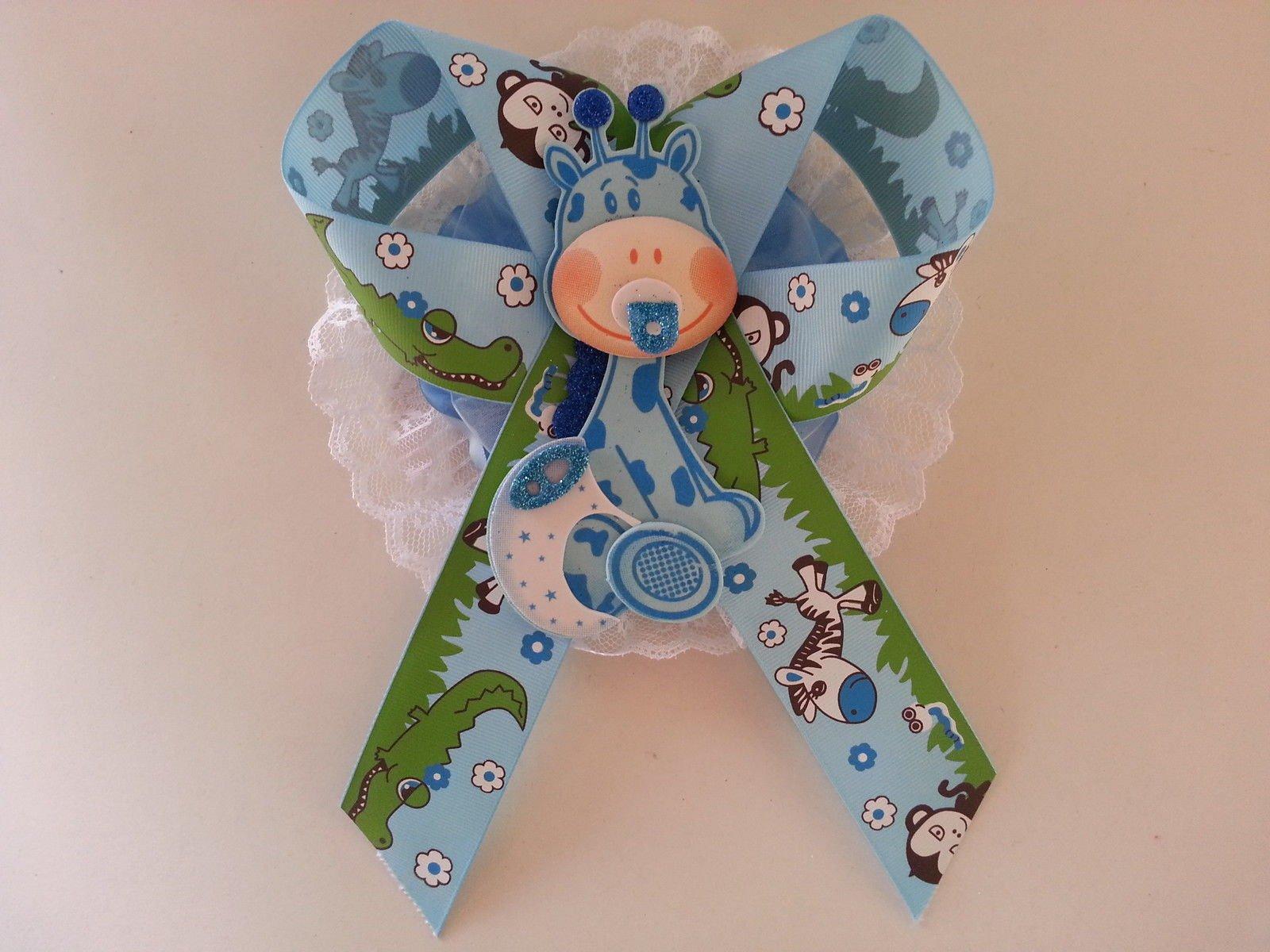Baby Shower Mom To Be It's a Boy Sash Blue Giraffe Safari Ribbon Corsage Noah's by PRODUCT 789 (Image #4)