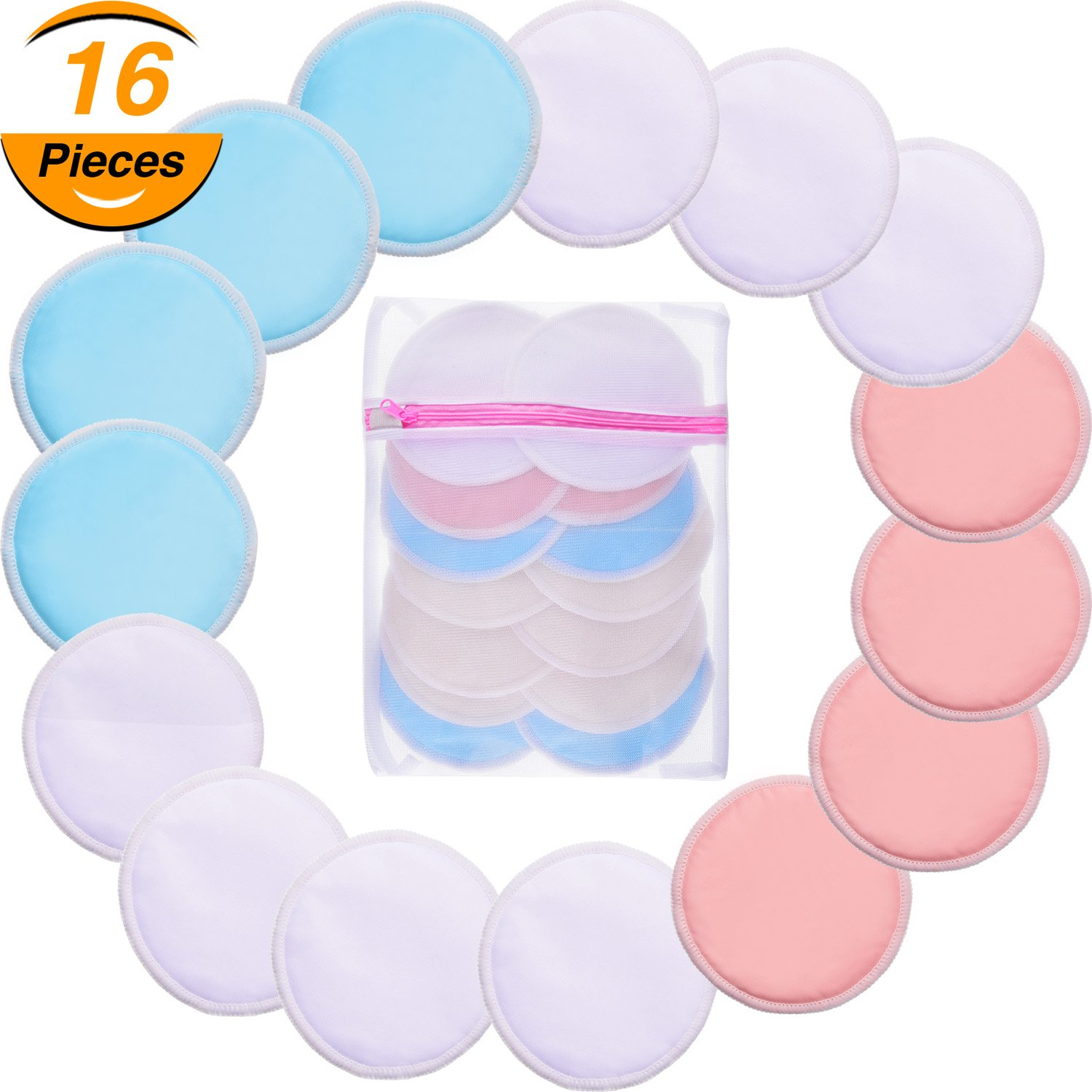 TecUnite Bamboo 15 Pack Makeup Soft Remover Pads with 1 Laundry Bag, Makeup Remover Cloth, Chemical Free Cleansing Towel Wipes Face, Facial Clean Skin Care Wash Cloth Pads (Pink, Sky Blue, White)