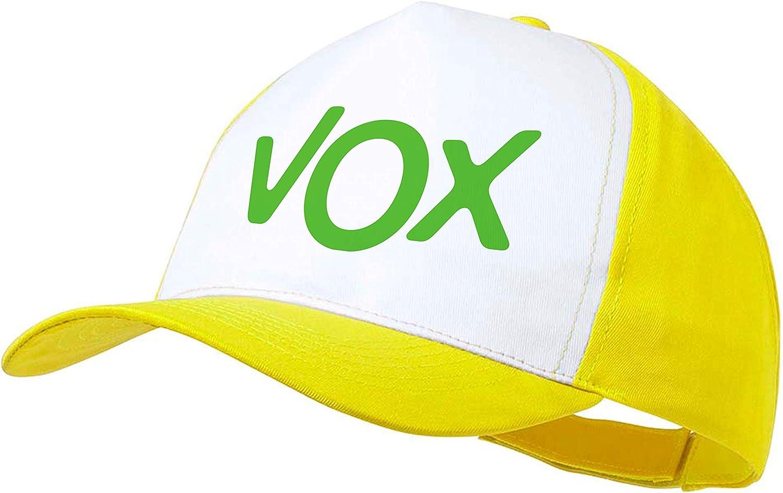 MERCHANDMANIA Gorra Amarilla Logo Partido VOX Color Cap: Amazon.es ...