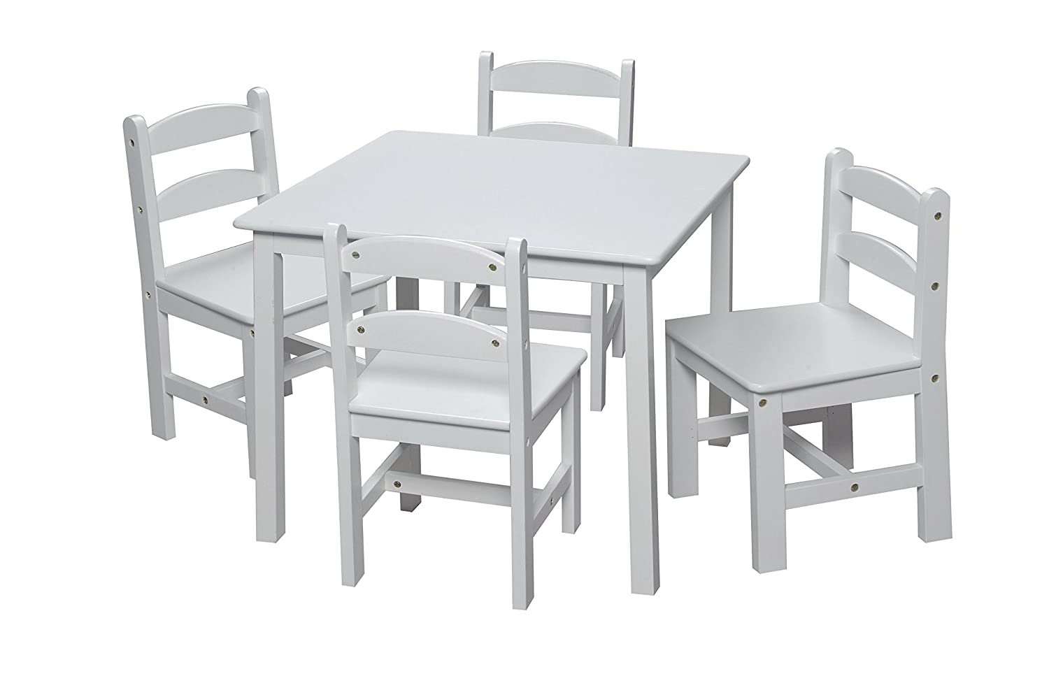 Amazon Gift Mark Square Table Set With 4 Chairs White Kitchen Dining