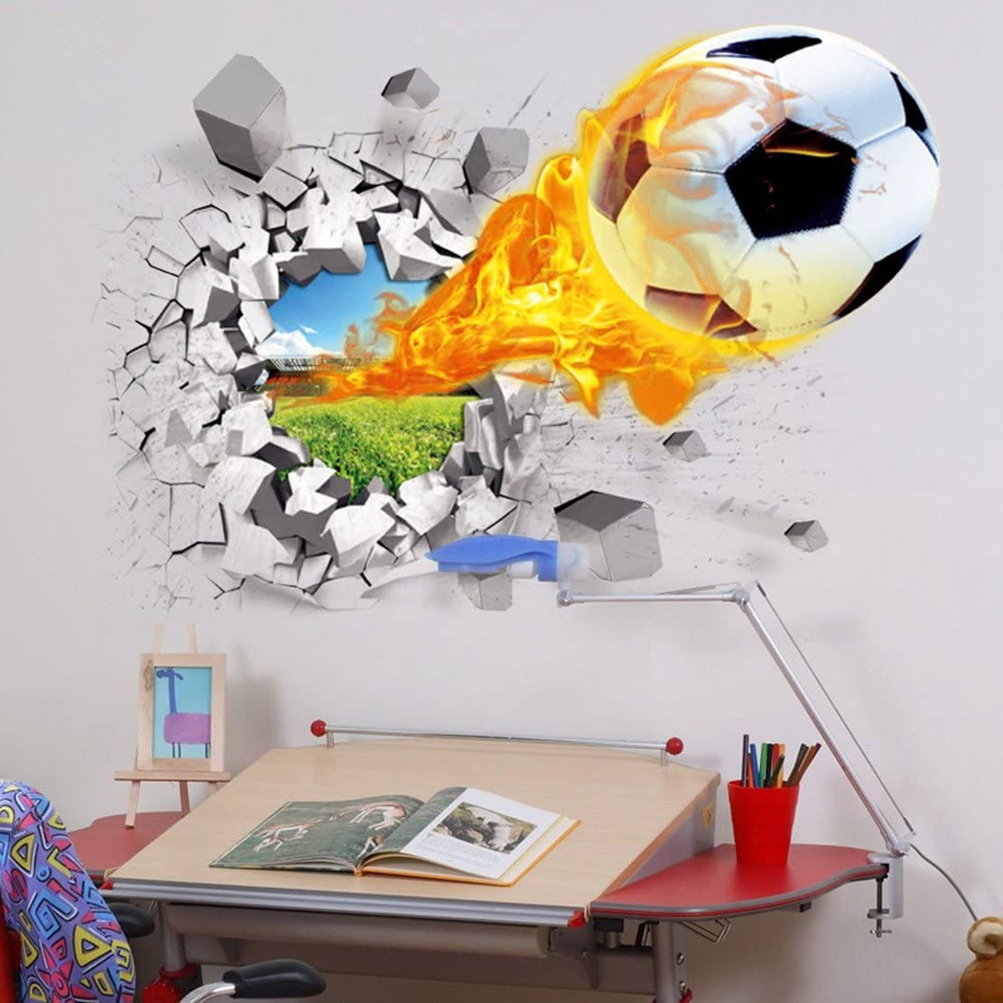 "U-Shark 3D Self-Adhesive Removable Break Through The Wall Vinyl Football Soccer Wall Stickers/Murals Art Decals Decorator as Kids Birthday Gift (Flying Fire Football (19.7"" X 27.6""/ 50 X 70cm))"