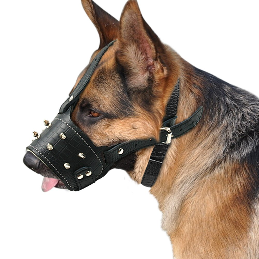 PET ARTIST -Gentle Genuine Leather Padded Dog Muzzle - Spikes Studded Adjustable Dog Mouth Cover,Black for Small Breeds