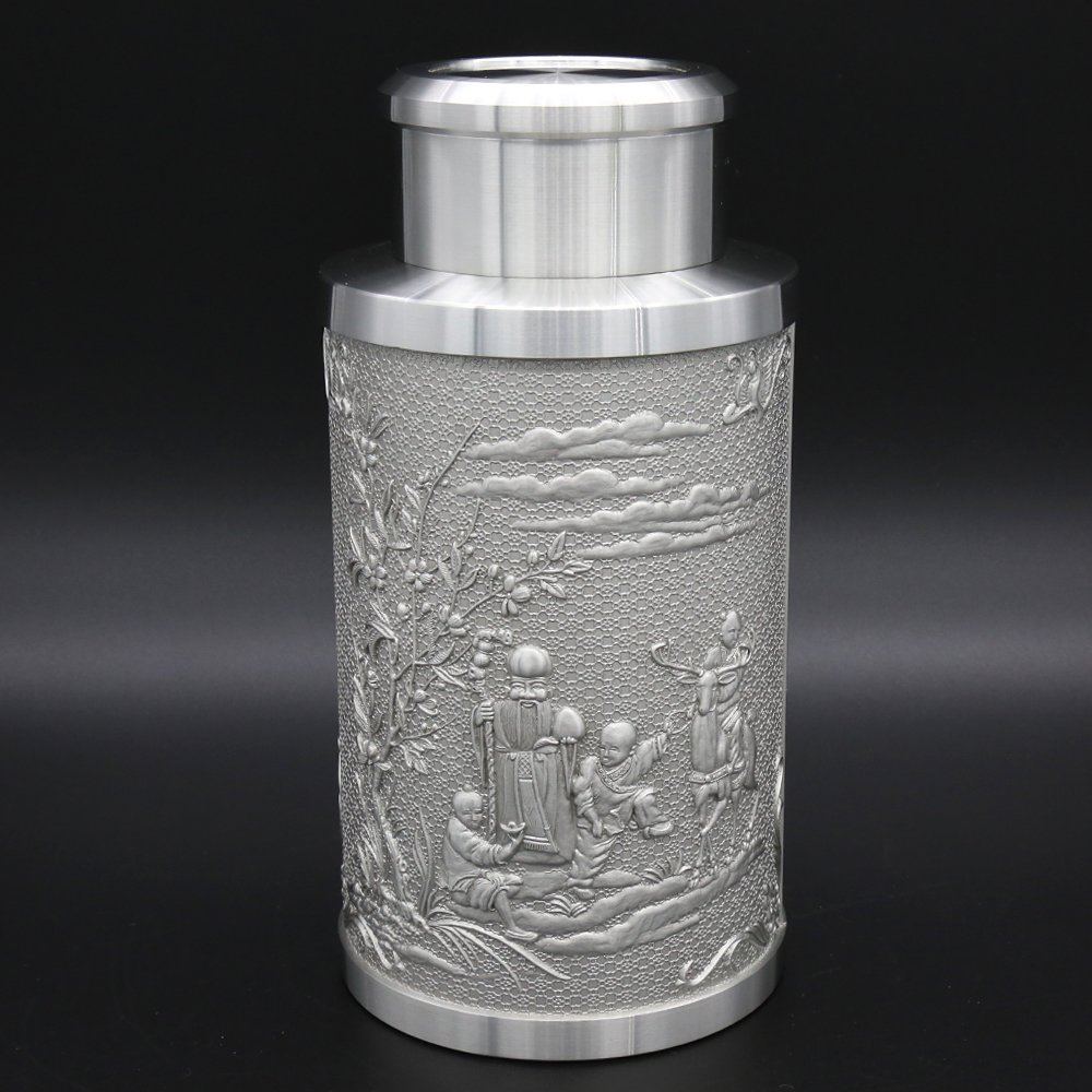 Oriental Pewter - Pewter Tea Storage, Caddy - Hand Carved Beautiful Embossed with Chinese Traditional Patterns of God of Longevity & Hundred ''FU'' Pure Tin 97% Lead-Free Pewter Handmade in Thailand by Oriental Pewter