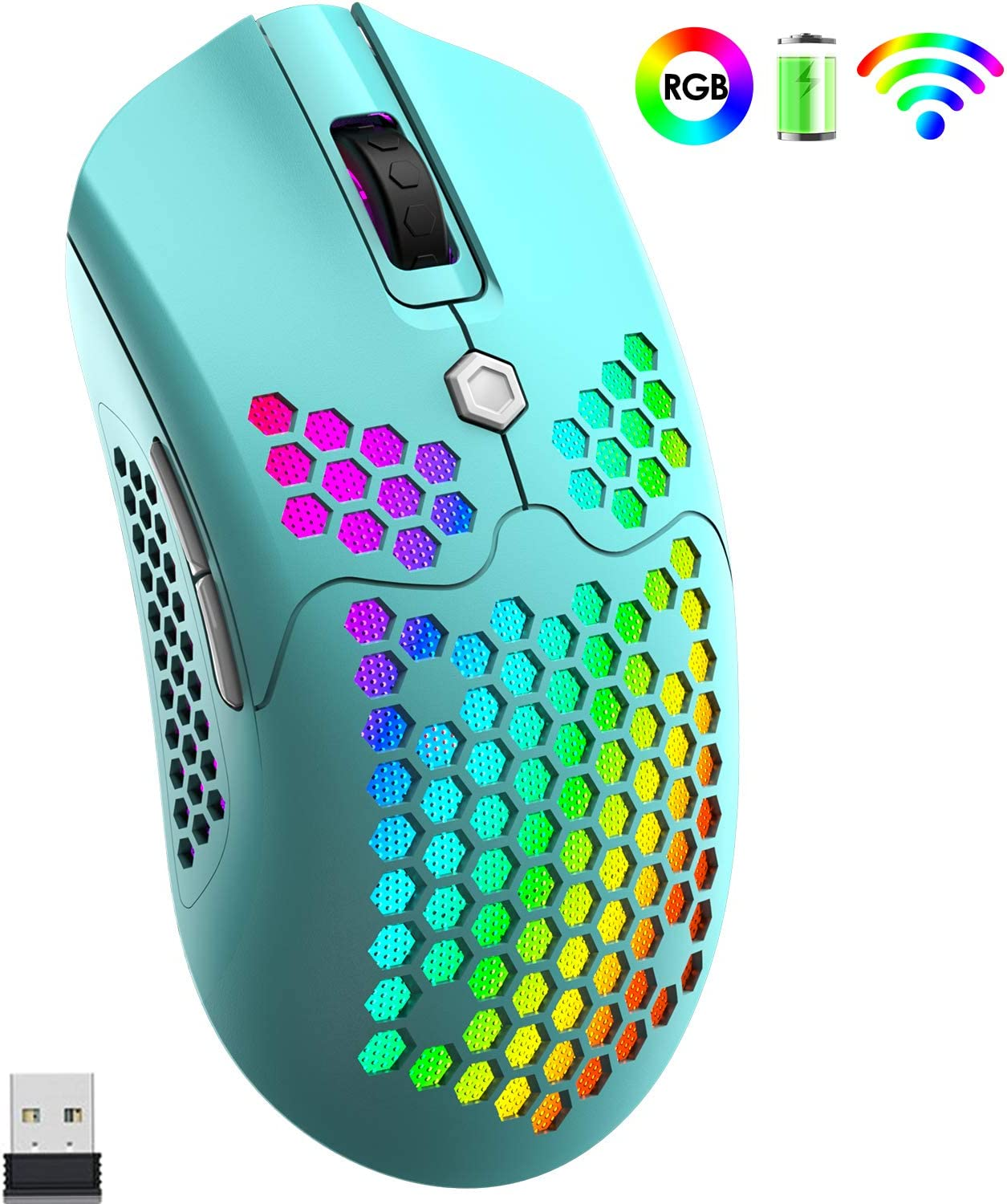 Wireless Gaming Mouse,Lightweight Honeycomb Shell,Rechargeable 800mA Battery,7 Buttons Programmable Driver,Pixart 3325 12000 DPI 16 RGB Backlit Ultralight Mouse for PC Gamers(Macaron Green)