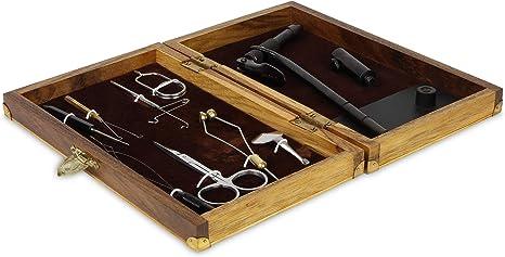 8 Werkzeuge zum Herstellen von eigenen Fliegen Bindeset Fliegenfischen in einer edlen Holzkiste inkl