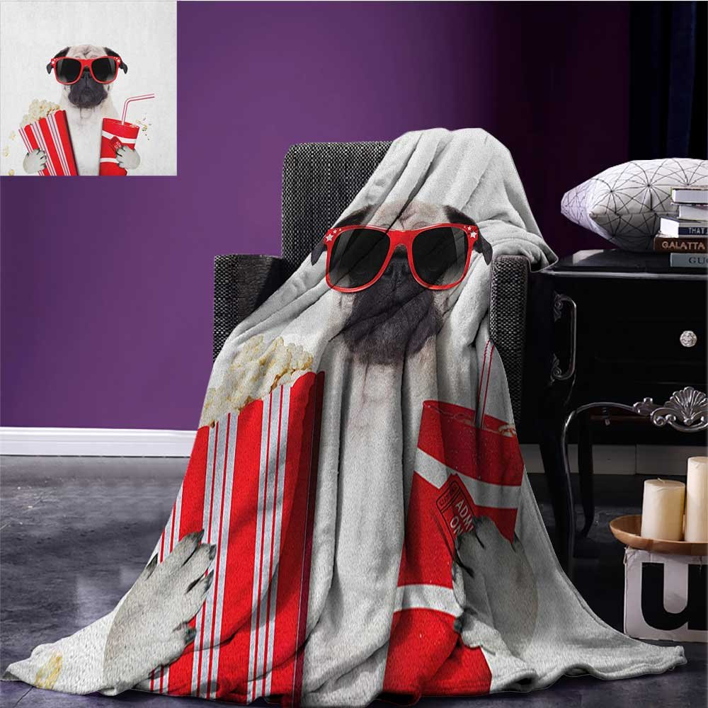 Pug survival blanket Going to the Movies Pug Dog Popcorn Soft Drink Movie Star Glasses Animal Fun Image space blanket Cream Red Black size:59''x35.5''