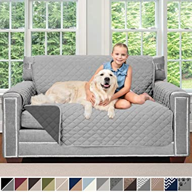 Sofa Shield Original Patent Pending Reversible Loveseat Slipcover, 2 Inch Strap Hook, Seat Width Up to 54 Inch Furniture Protector Washable, Couch Slip Cover for Pets, Love Seat, Light Gray Charcoal