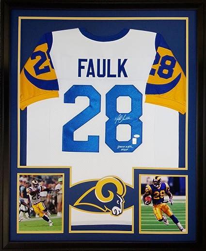 online store b92f4 6f702 Marshall Faulk Framed Jersey Signed JSA COA Autographed Los ...