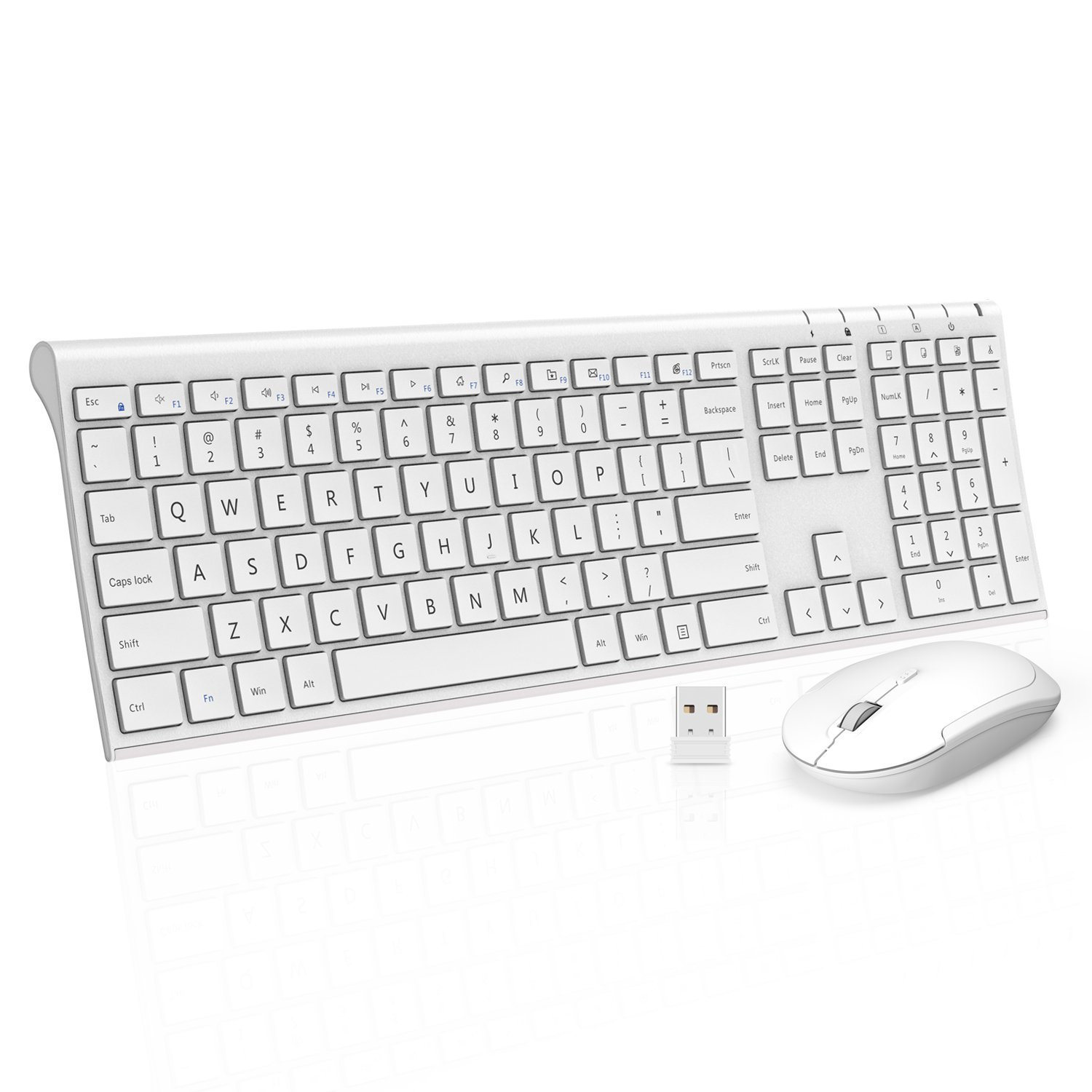 Wireless Keyboard Mouse, Jelly Comb KUS015 2.4GHz Ultra Slim Full Size Rechargeable Wireless Keyboard and Mouse Combo for Windows, Laptop, Notebook, PC, Desktop, Computer (White)