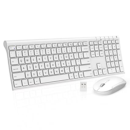 Wireless Keyboard Mouse, Jelly Comb KUS015 2.4GHz Ultra Slim Full Size  Rechargeable Wireless Keyboard